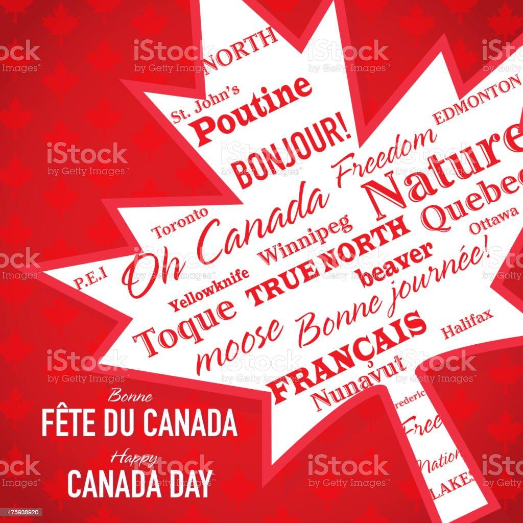 Maple leaf Happy Canada Day Celebration bilingual greeting design template vector art illustration