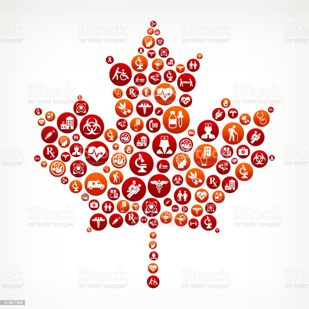 Maple Leaf Healthcare and Medical Red Button Pattern vector art illustration