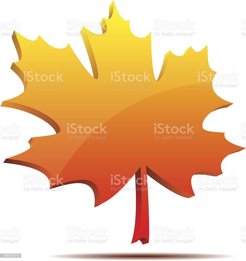 3D maple leaf label royalty-free stock vector art