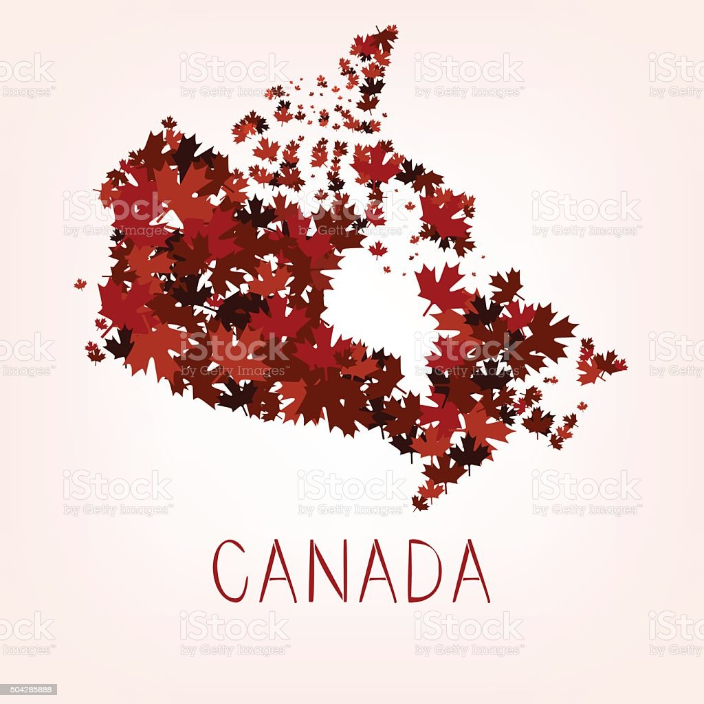 Maple Leafs Map of Canada vector art illustration