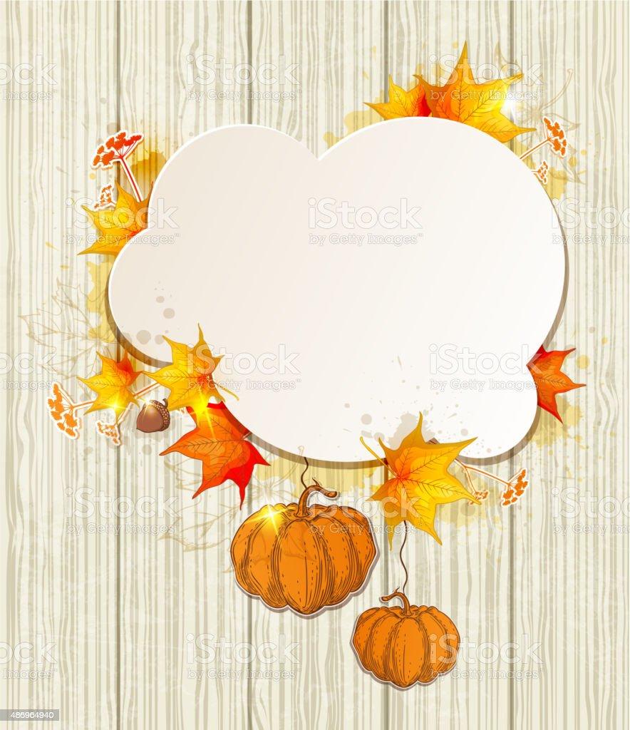 Maple leaves and pumpkins vector art illustration