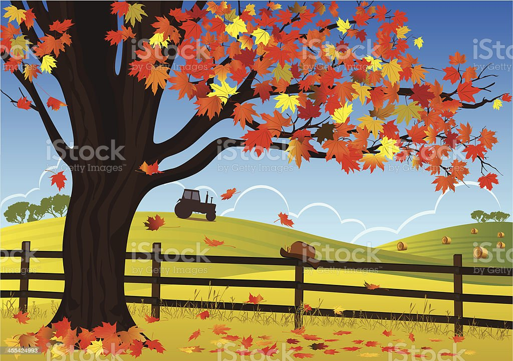 Maple Tree And Fence royalty-free stock vector art