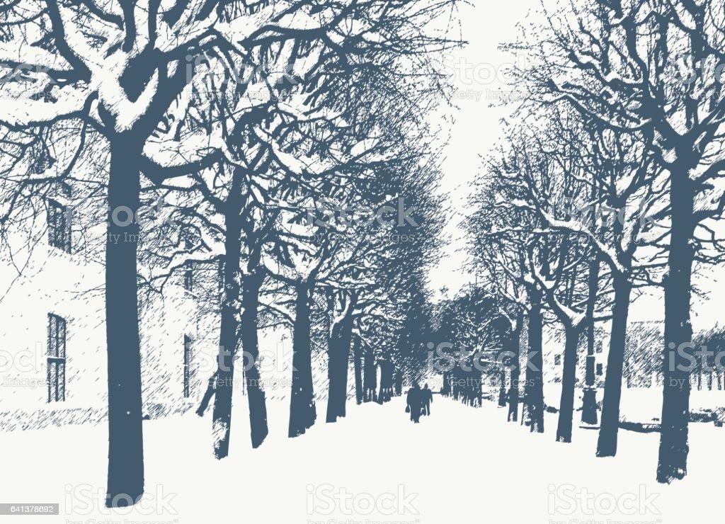maple trees in the winter city vector art illustration
