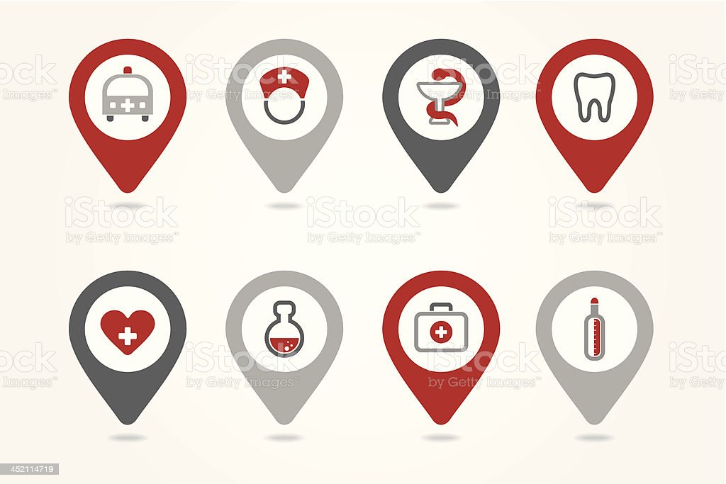mapping pins icons medical royalty-free stock vector art