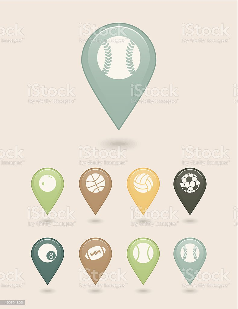 mapping pins icons sports balls royalty-free stock vector art