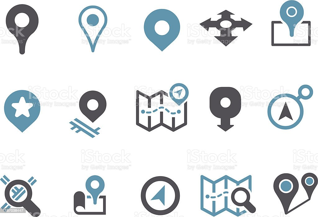 Maps Icon Set vector art illustration