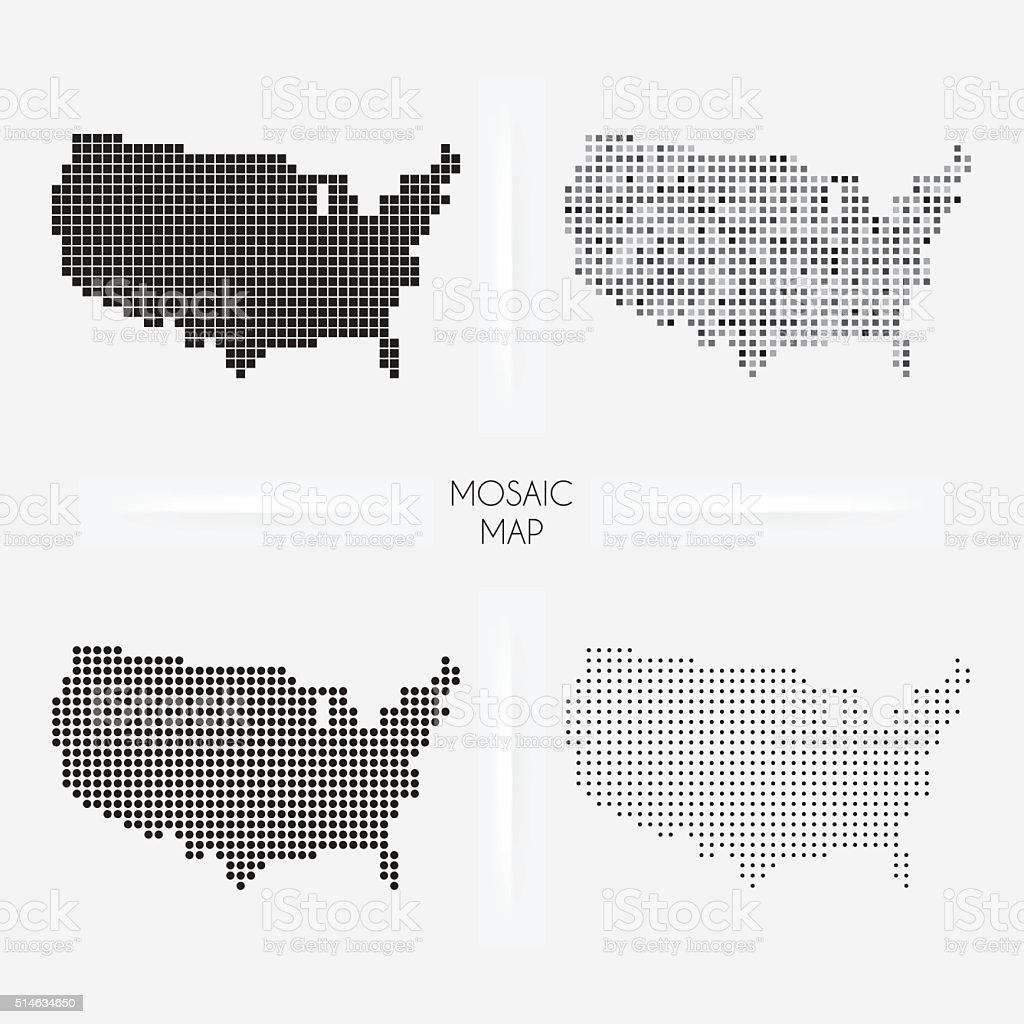 USA maps - Mosaic squarred and dotted vector art illustration