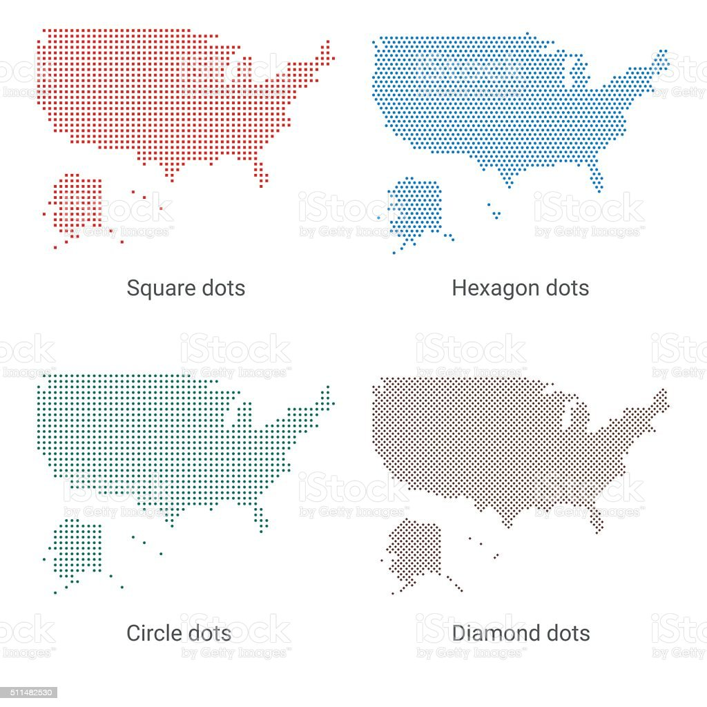 Maps of the United States of America - Dot designs vector art illustration