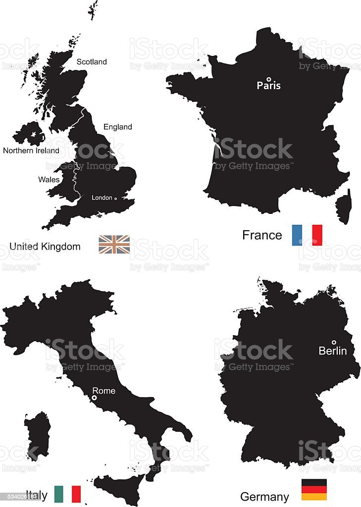 Maps of United Kingdom, France, Italy and Germany vector art illustration