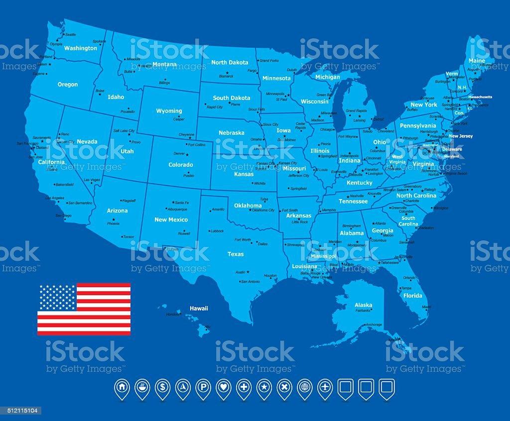 USA Map-Vector Illustration vector art illustration