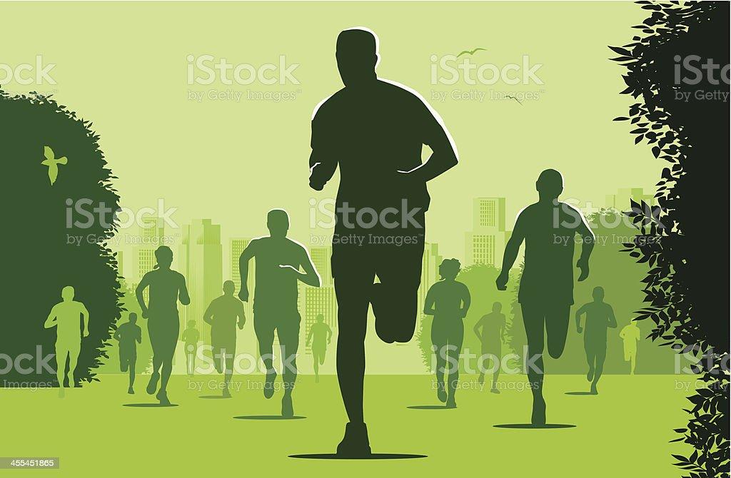 Marathon Runners in the city park royalty-free stock vector art