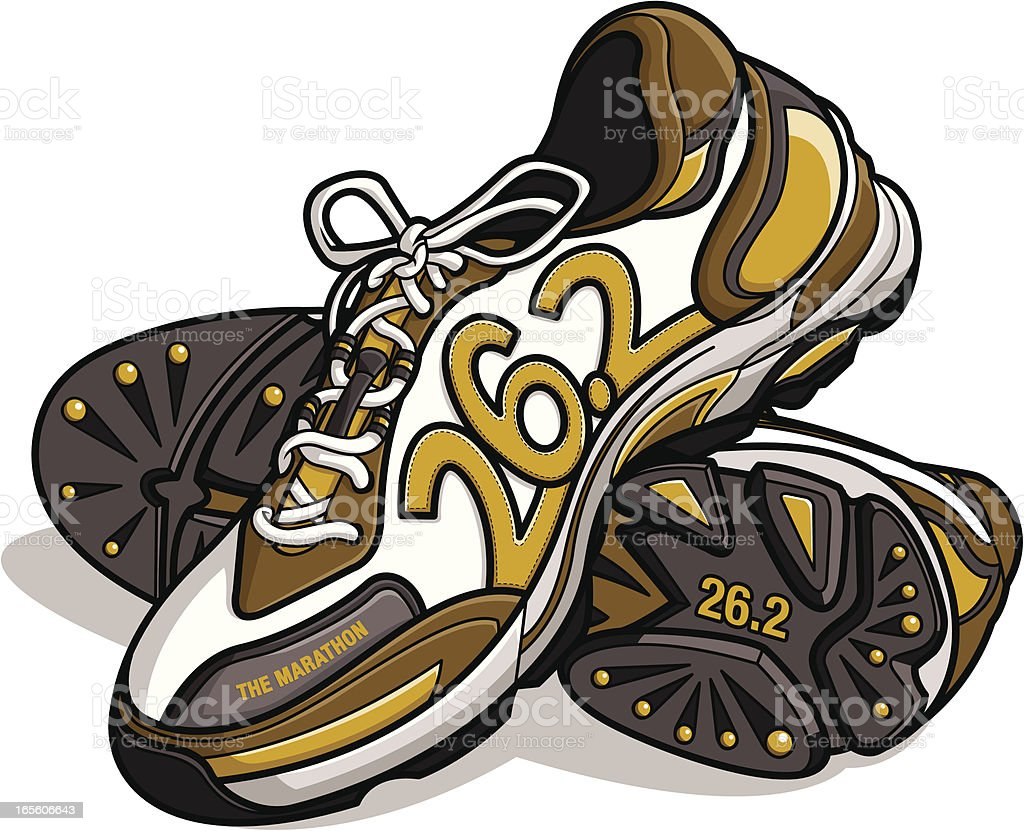 marathon running shoes royalty-free stock vector art
