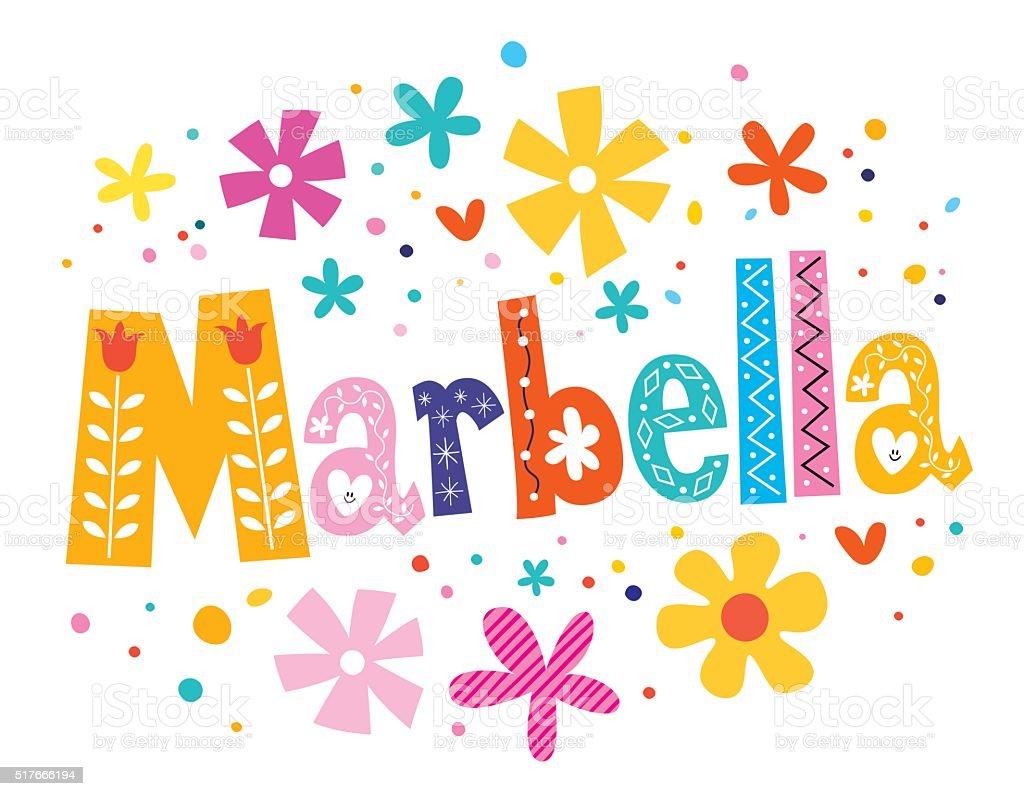 Marbella, Spain lettering decorative type vector art illustration