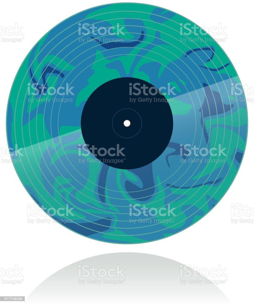 Marbled vinyl record in blue hues vector art illustration