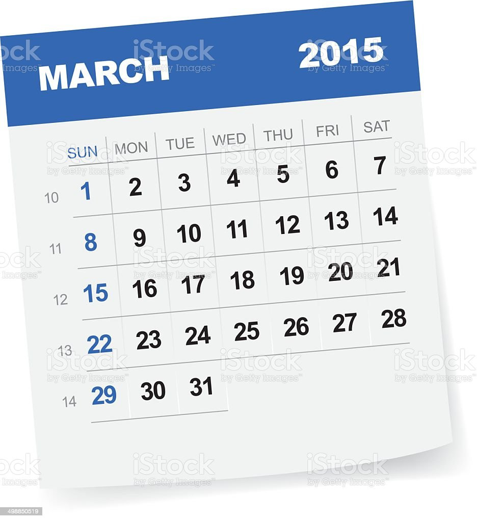 March 2015 Calendar vector art illustration