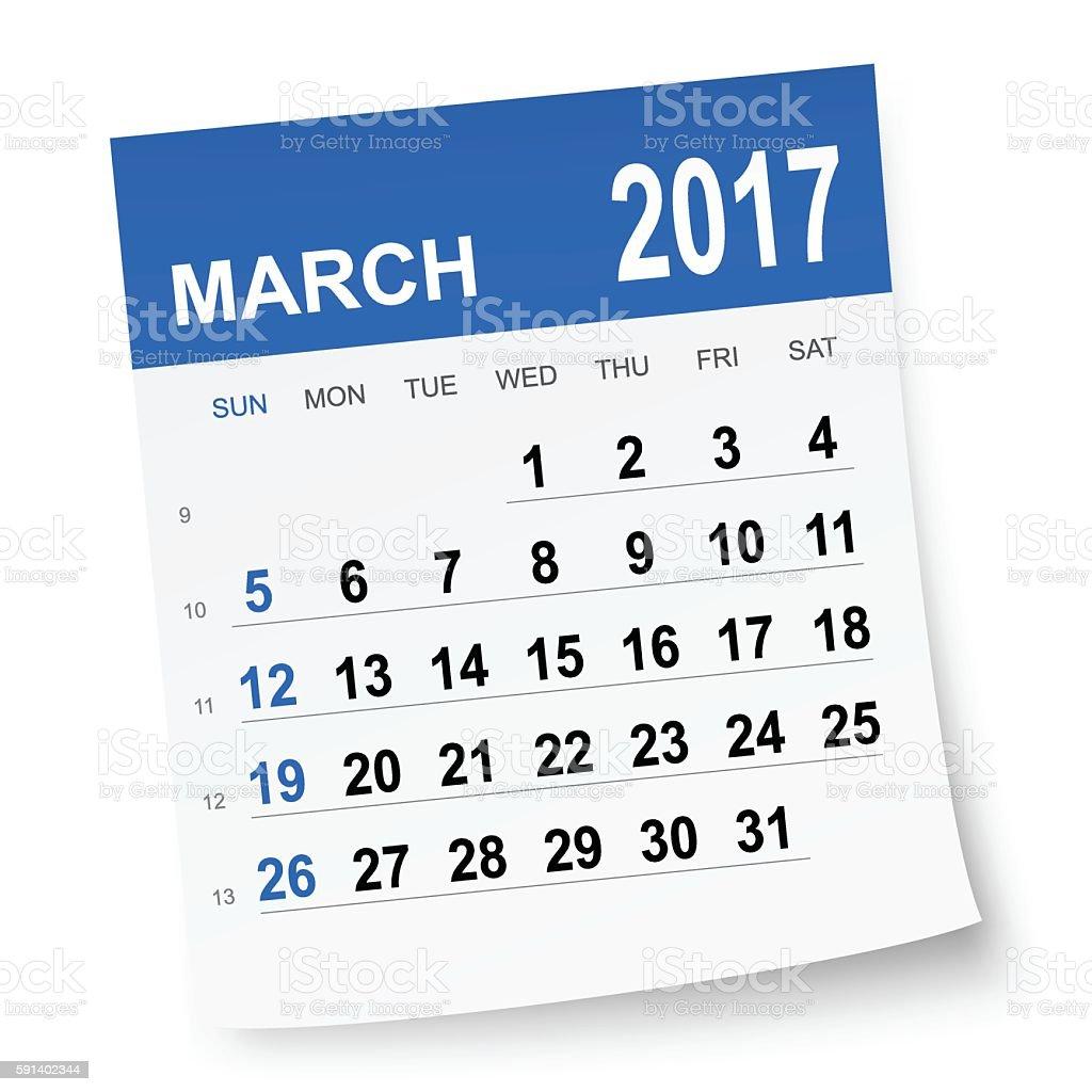 March 2017 calendar vector art illustration