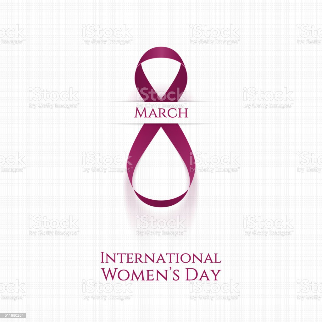 March 8 Womens Day realistic pink festive Ribbon vector art illustration
