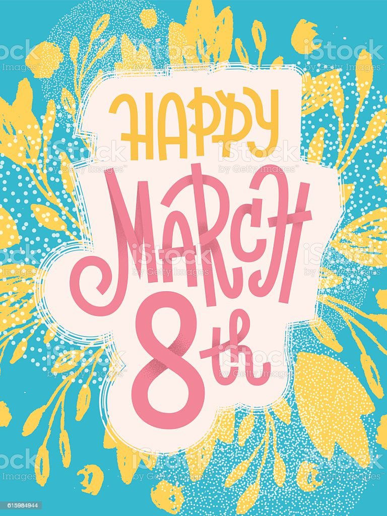 March 8th, happy fun greeting card for international women's day vector art illustration