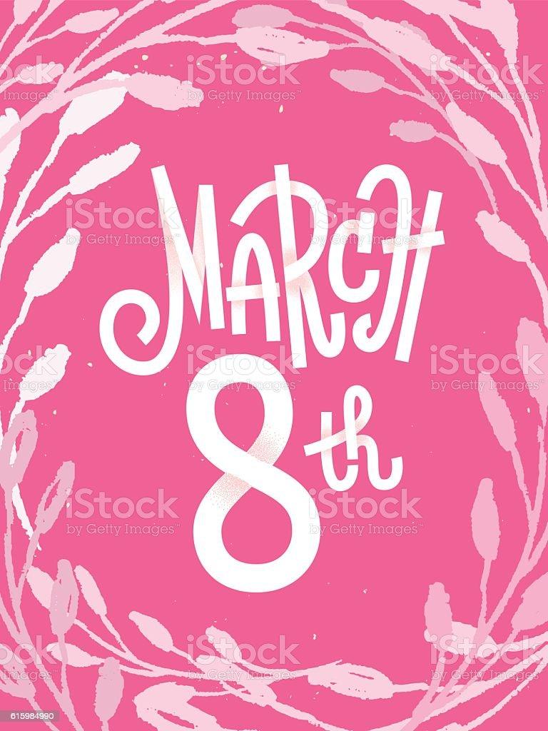 March 8th, pink feminine greeting card for international women's vector art illustration
