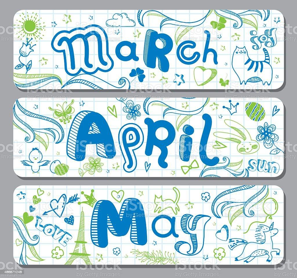 March, April, May. Calendar greetings vector art illustration