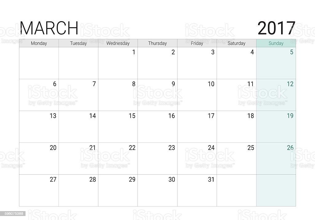 2017 March calendar (or desk planner) vector art illustration