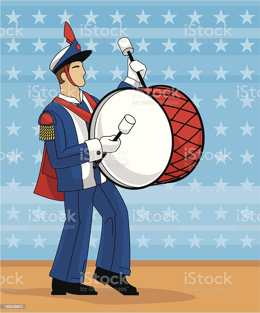 Marching Band Bass Drummer royalty-free stock vector art