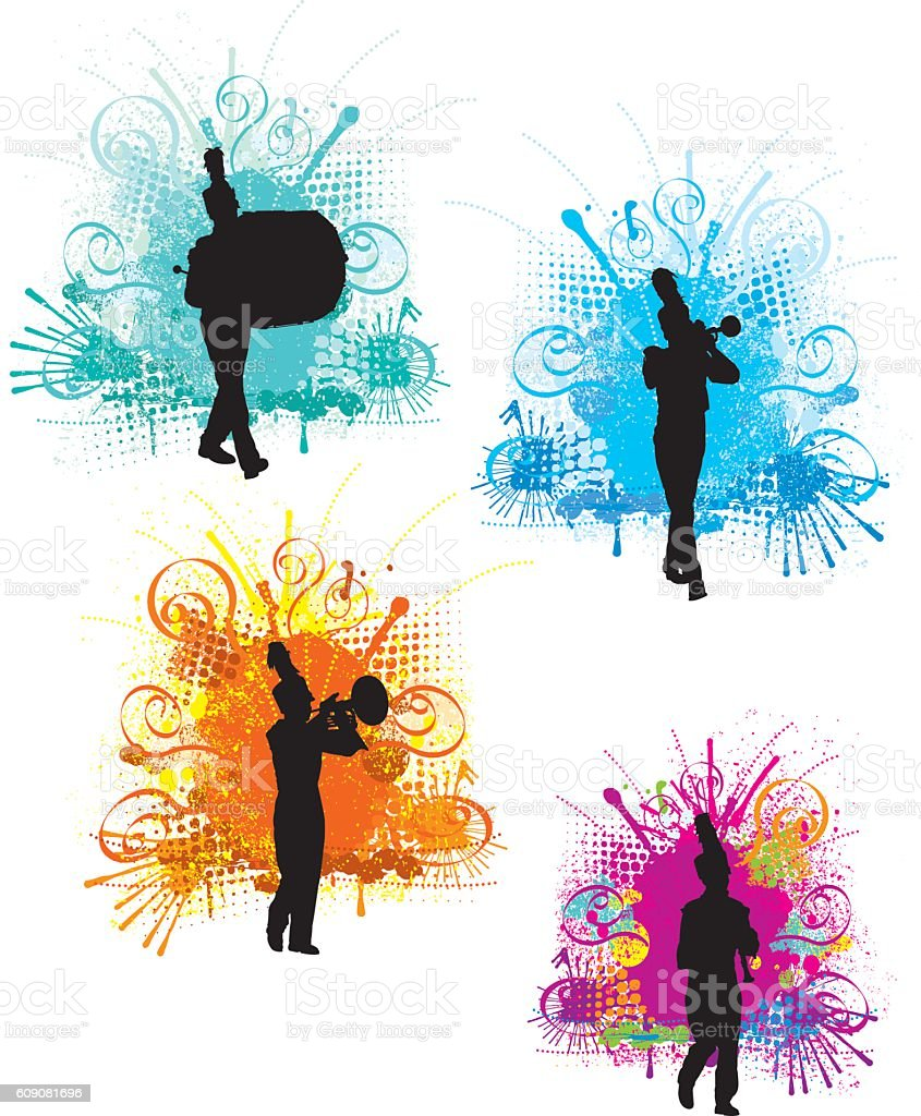 Marching Band Designs - Silhouette Background vector art illustration