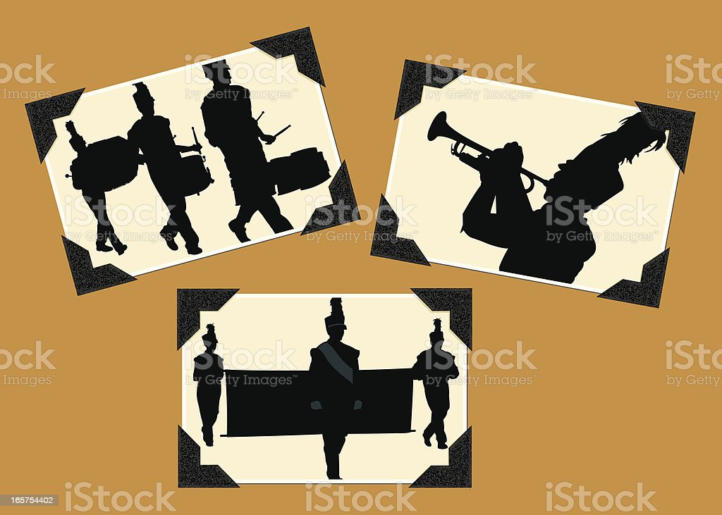 Marching Band - Drummers, Trumpet Photo Album royalty-free stock vector art