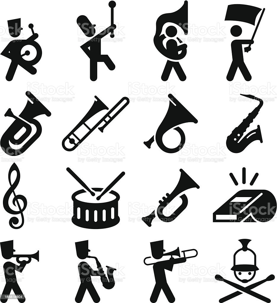 Marching Band Icons - Black Series vector art illustration