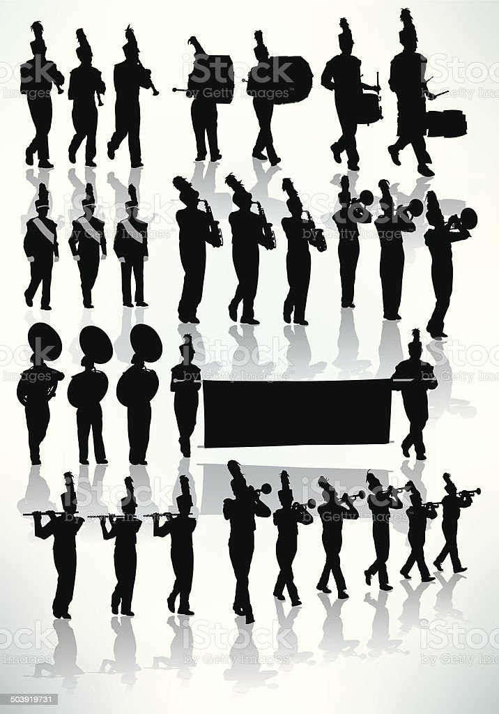 Marching Band - Silhouette vector art illustration
