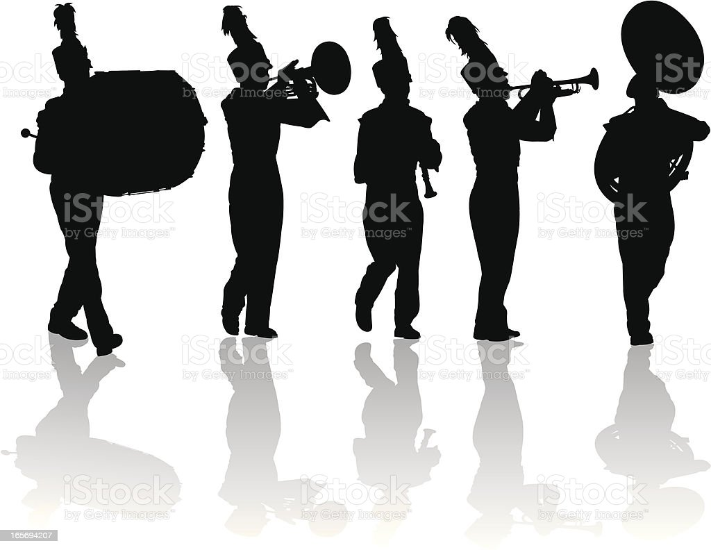 Marching Band Silhouettes Trumpet, Drum, Flute, Mellophone royalty-free stock vector art