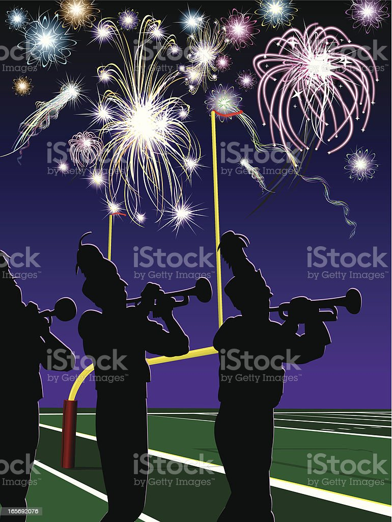 Marching Band, Trumpet, Fireworks, Football Halftime royalty-free stock vector art
