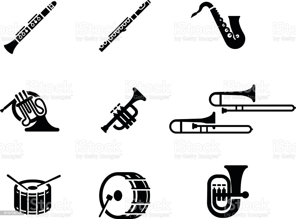 Marching Band Vector Icon Set vector art illustration
