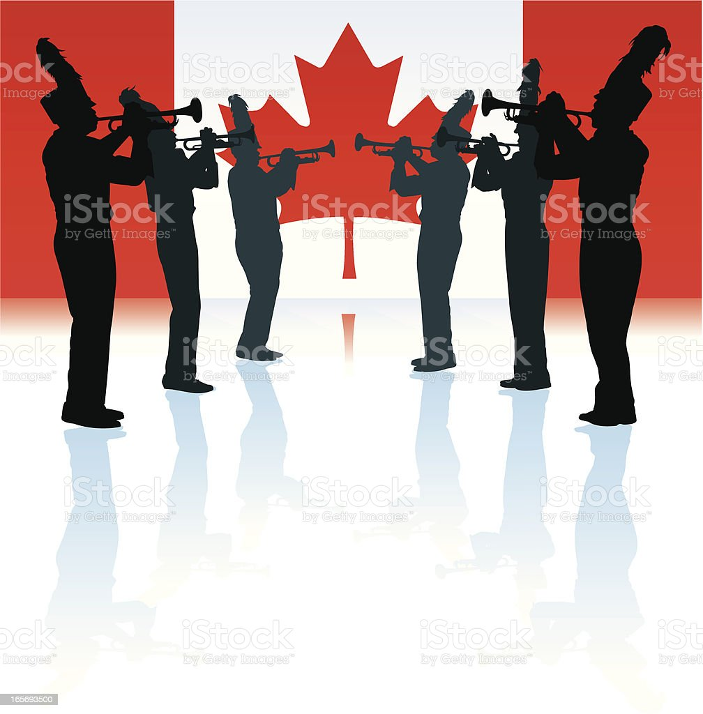 Marching Band with Canadian Flag vector art illustration