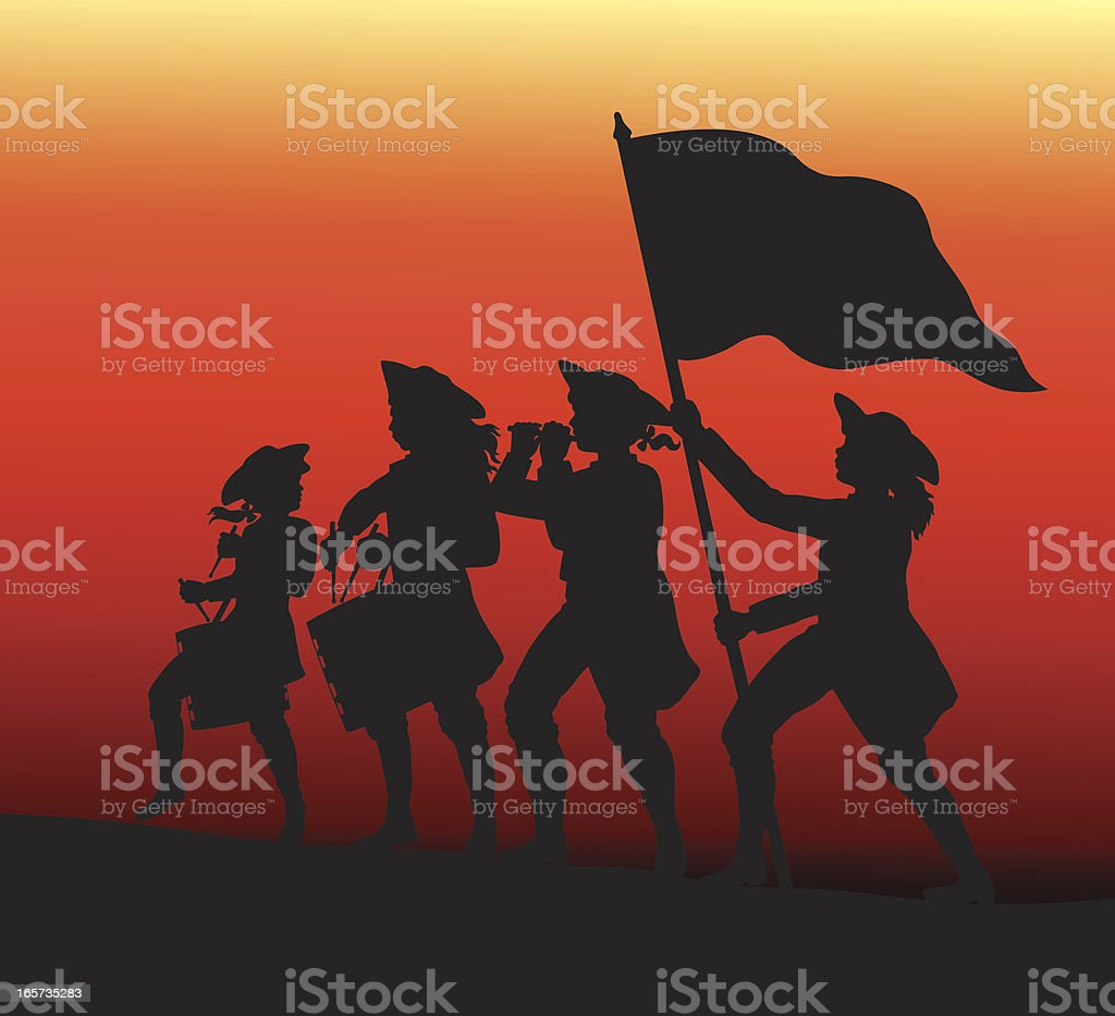 Marching with drums, fife and flag. royalty-free stock vector art