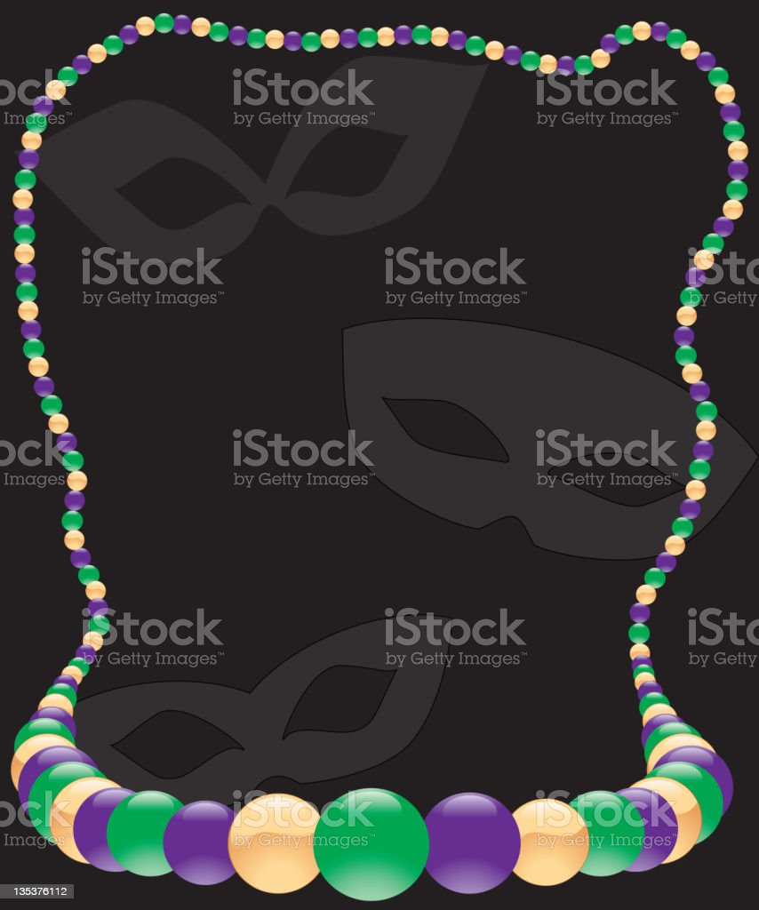 Mardi Gras Beaded Necklace Frame royalty-free stock vector art
