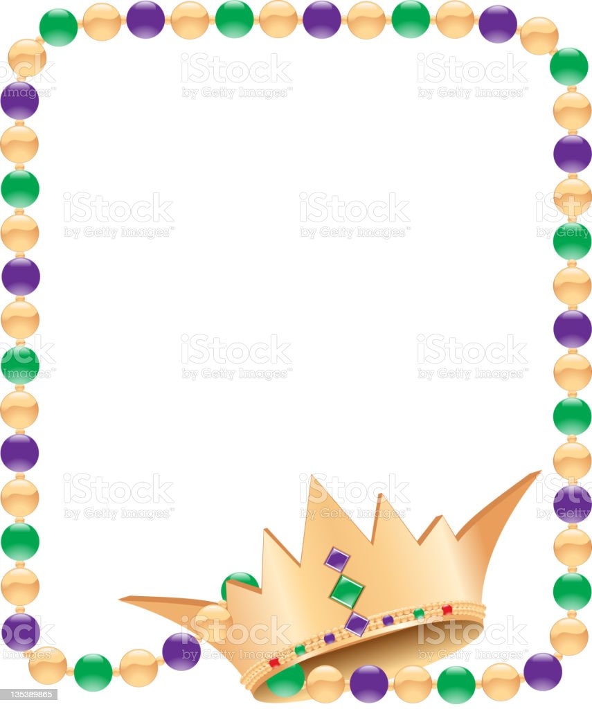 Mardi Gras Beads and Crown vector art illustration