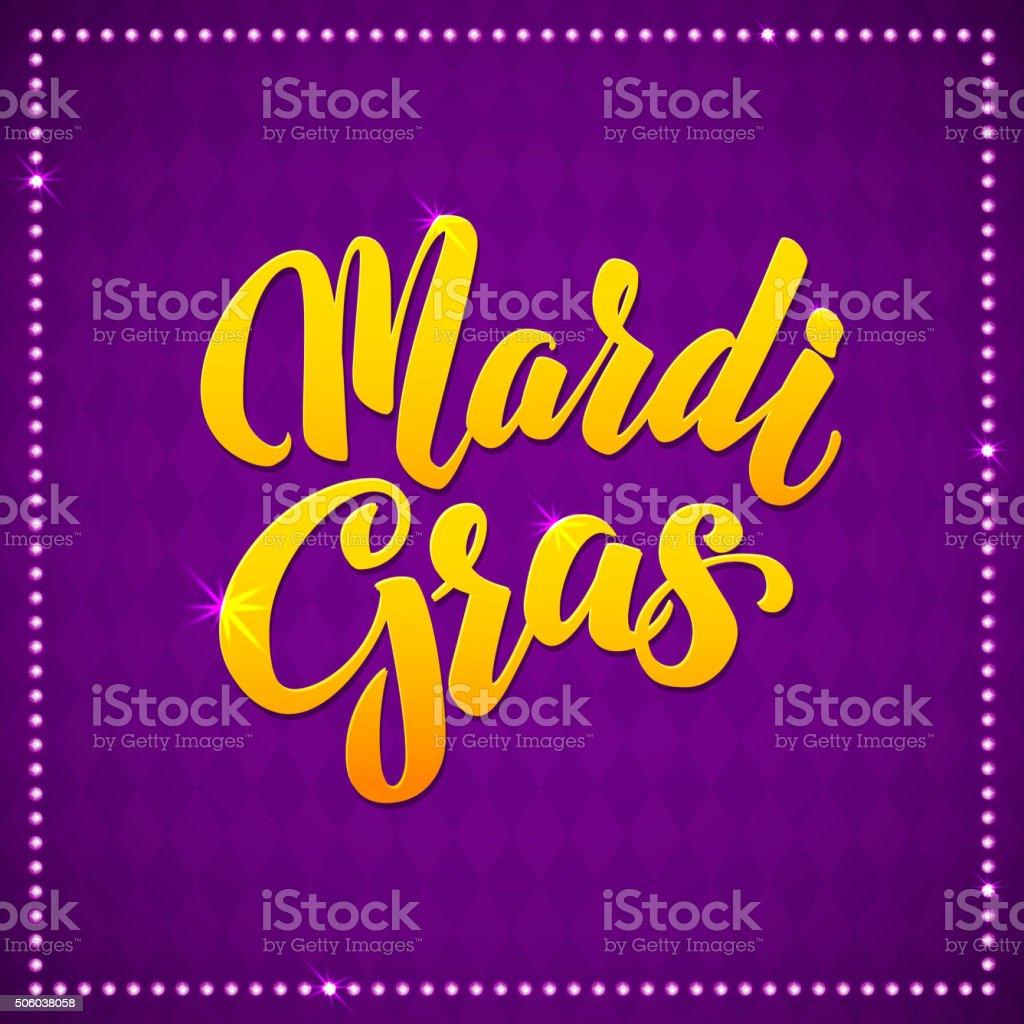 Mardi Gras Carnival Calligraphy Poster. Vector illustration Typographic Greeting card vector art illustration