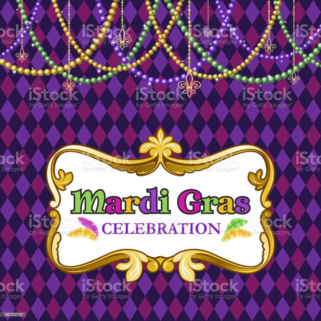 Mardi Gras Celebration poster with beads and diamond pattern vector art illustration