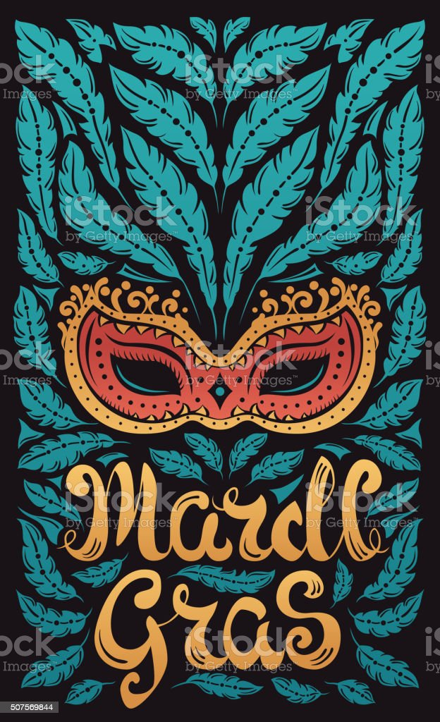 Mardi Gras celebration poster with venetian mask and feathers vector art illustration