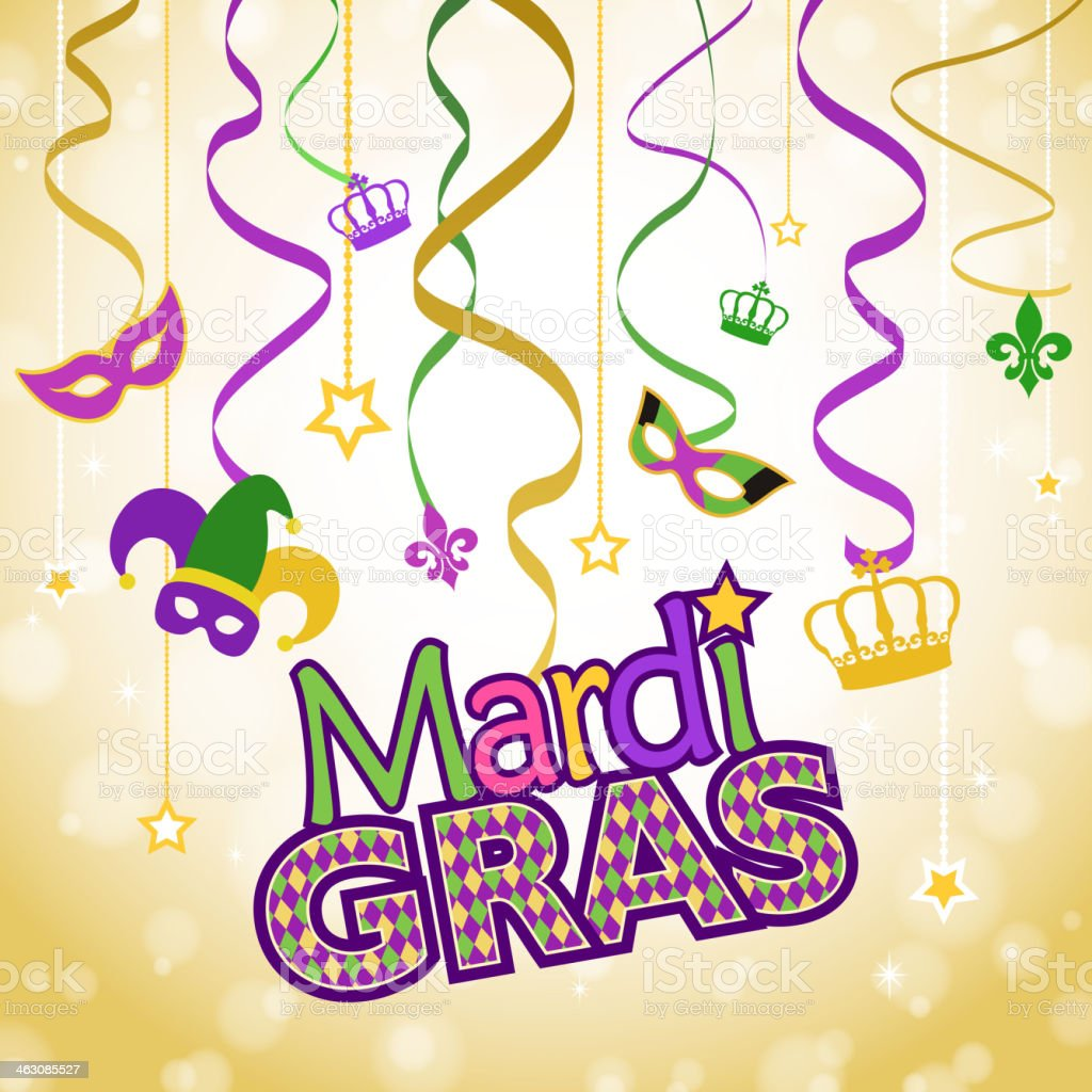 Mardi Gras Decorations royalty-free stock vector art