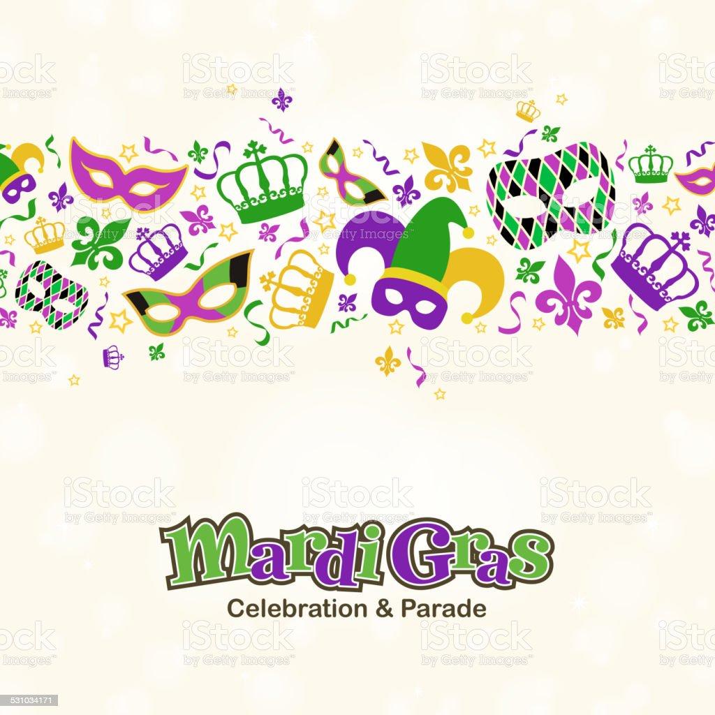 Mardi Gras Design Elements Border vector art illustration