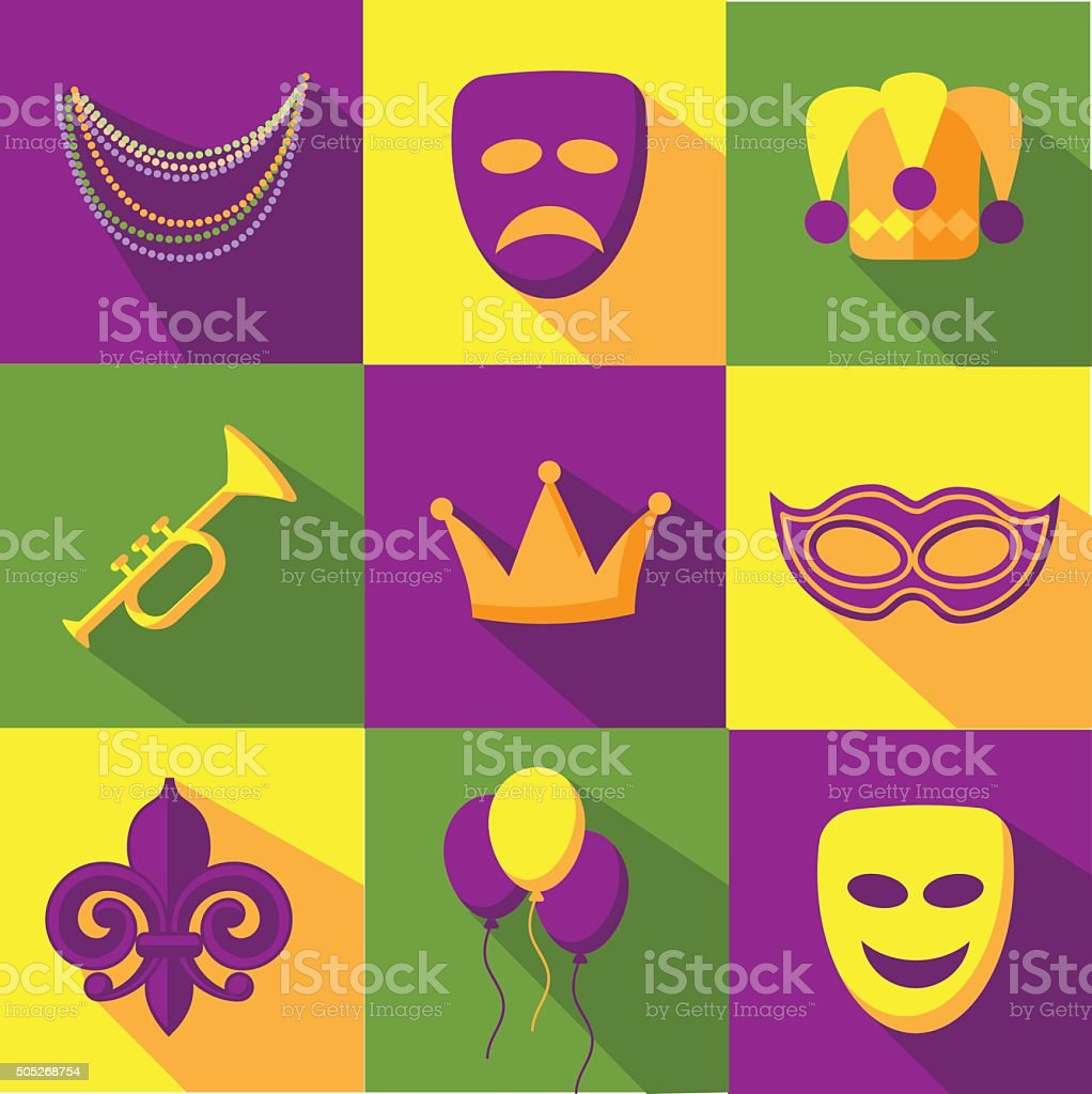 Mardi Gras flat design icon collection vector art illustration