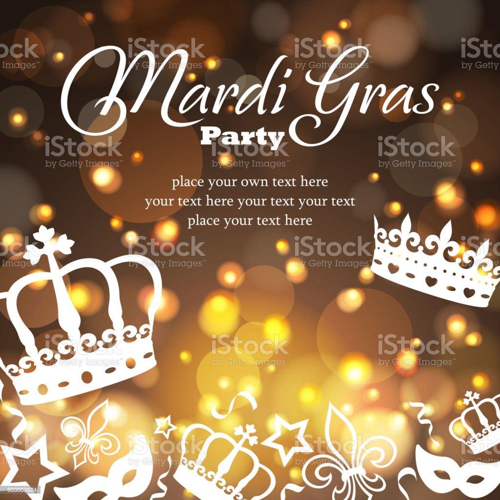 Mardi gras golden background vector art illustration