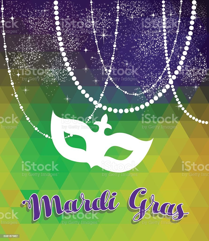 Mardi gras green and purple background with mask vector art illustration