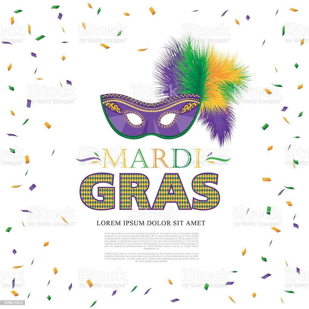 Mardi Gras holiday. Colorful carnival mask vector art illustration