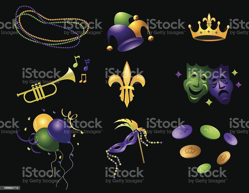 Mardi Gras Icons vector art illustration