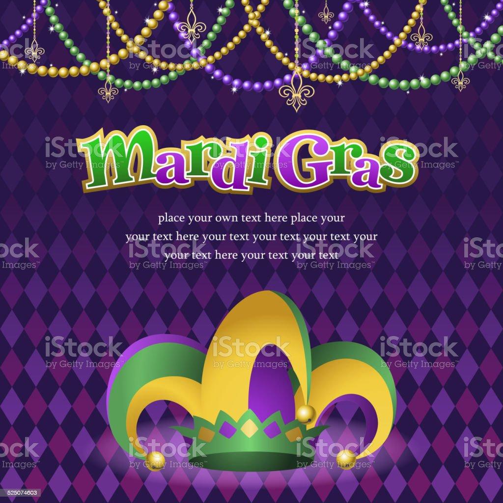 Mardi Gras Jester Hat with Background vector art illustration
