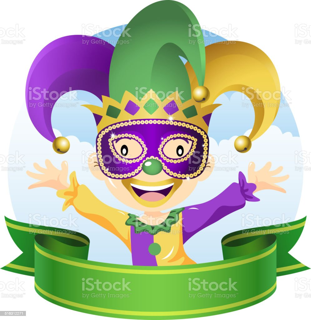Mardi Gras Jester vector art illustration