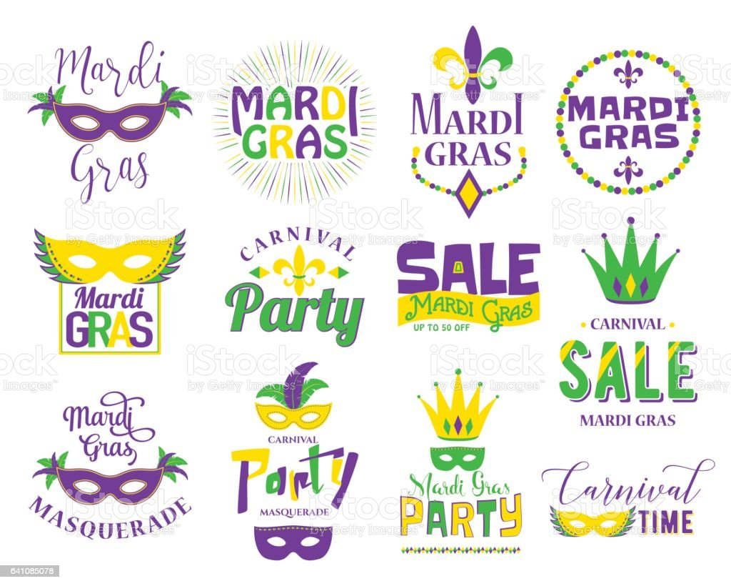 Mardi Gras lettering typography set. Emblems, logo with text sign vector art illustration